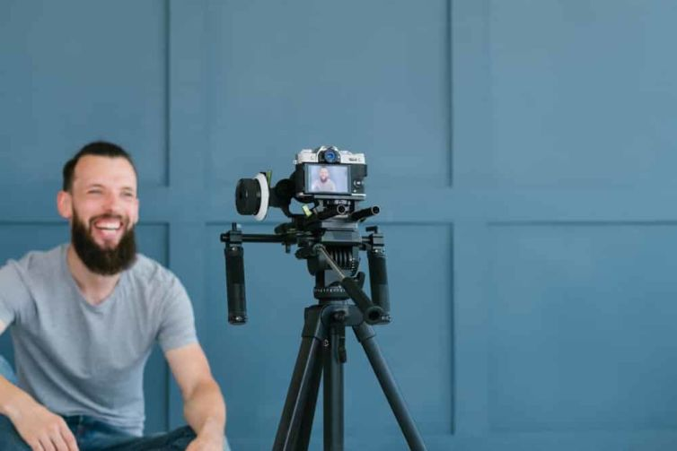 Content,Creation,For,Social,Media.,Bearded,Man,Shooting,Video,Of